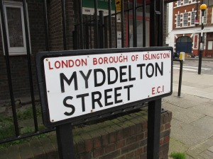 Myddelton Street sign - what is history of the name